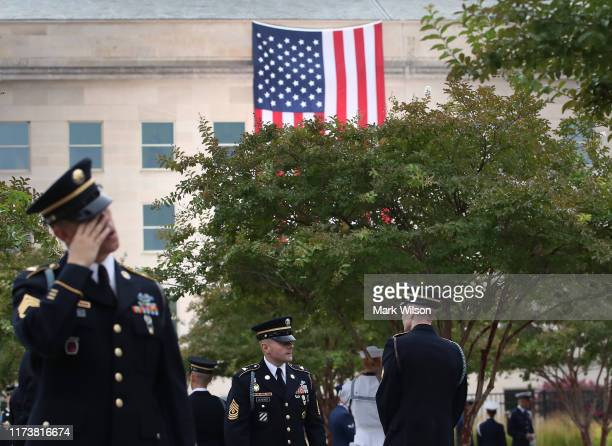 Members of the 3rd United States Infantry Regiment The Old Guard attend a ceremony at the Pentagon to commemorate the anniversary of the 9/11 terror...