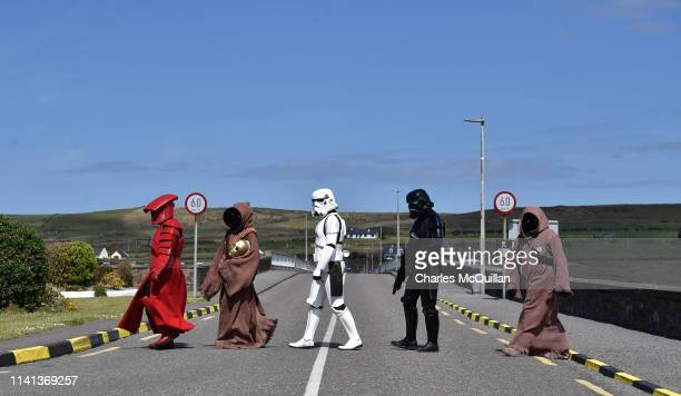 Members of the 501st Garrison Ireland Legion cross the bridge as they patrol the small fishing village on May 5 2019 in Portmagee Ireland The latest...
