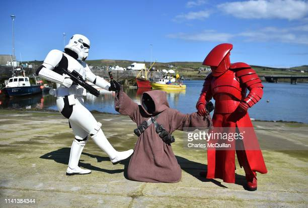 Members of the 501st Garrison Ireland Legion dressed as Star Wars characters take part in the Star Wars festival on May 5 2019 in Portmagee Ireland...