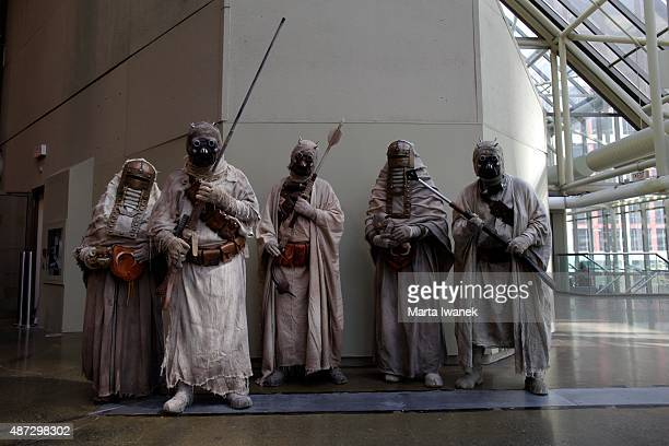 TORONTO ON SEPTEMBER 4 Members of the 501st Legion dressed as Tusken Raiders from Star Wars pose for a photo at the Fan Expo in Toronto September 4...