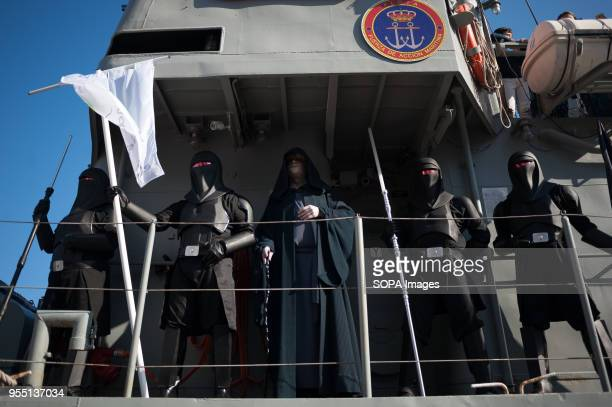 Members of the 501st Legion Spanish Garrison dressed as characters from the movie saga Star Wars, perform aboard a ship during a charity parade in...