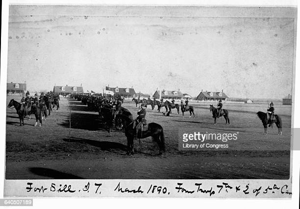 Members of the 5th and 7th Cavalry sit on horseback at Fort Sill | Location Fort Sill Oklahoma USA