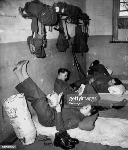 Members of the 5th Royal Inniskilling Dragoon Guards take their imminent departure for Korea calmly at Talavera Barracks Aldershot