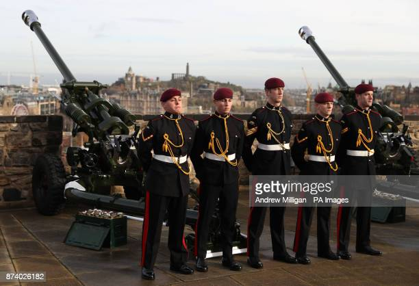 Members of the 7th Parachute Regiment Royal Horse Artillery the Airborne Gunners wait ahead of a 21gun salute being fired from the Mills Mount...
