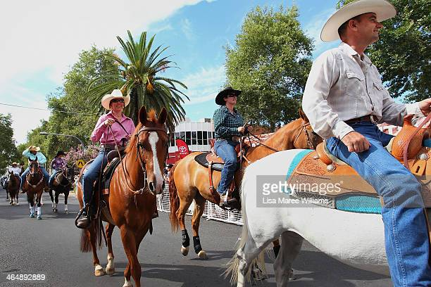 Members of the ABCRA National Rodeo ride their horses along Peel Street during the 42nd Tamworth Country Music Festival Cavalcade on January 25 2014...