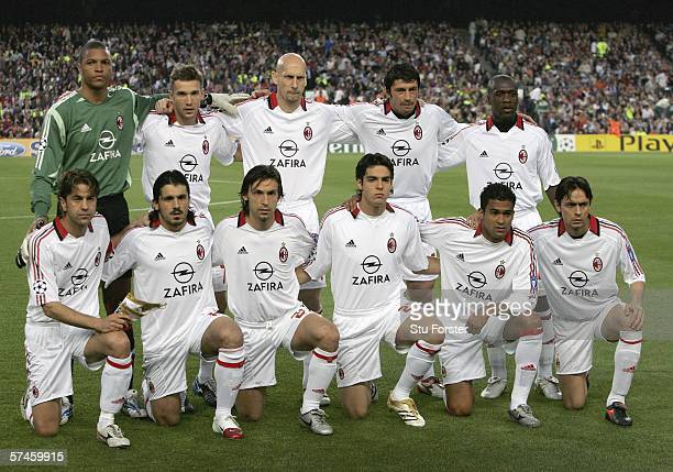 Members of the AC Milan team group pose for a photo before the UEFA Champions league semi final between Barcelona and AC Milan on April 26 2006 at...