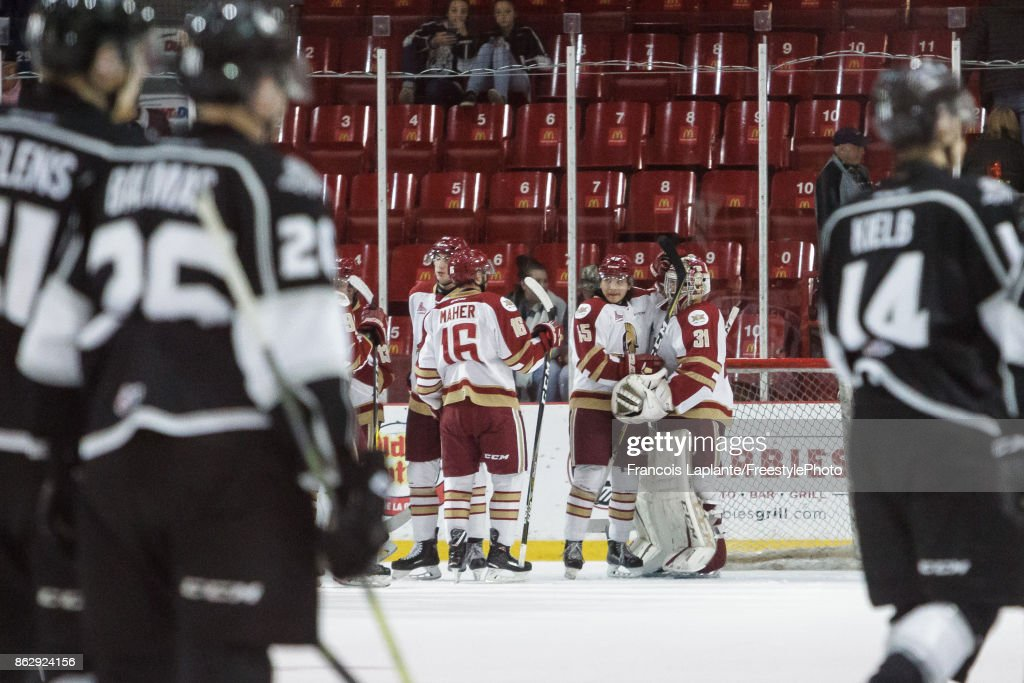 Members of the Acadie-Bathurst Titan celebrate their win over the Gatineau Olympiques on October 18, 2017 at Robert Guertin Arena in Gatineau, Quebec, Canada.