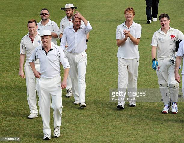 Members of the actors team including Rufus Wright Nigel Walker Damian Lewis Peter SandysClarke Iain Glen Gareth Lewis and Sam Browne attend the first...