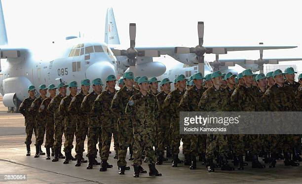 Members of the advance team of Japan Air SelfDefense Force who are soon to be dispatched to Iraq attend a sendoff ceremony at its Komaki base on...