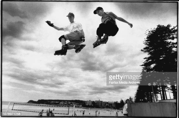 Members of the Aerial Assault Squad a six member roller blade squad in action at manly beach todayFrom Left to Right Andrew MattAndrew left and Matt...