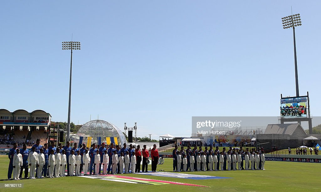 Members of The Afghanistan and Indian teams line up during the playing of the natinonal anthems before the ICC World Twenty20 Group A match between India and Afghanistan played at the Beausejour Cricket Ground on May 1, 2010 in Gros Islet, Saint Lucia.