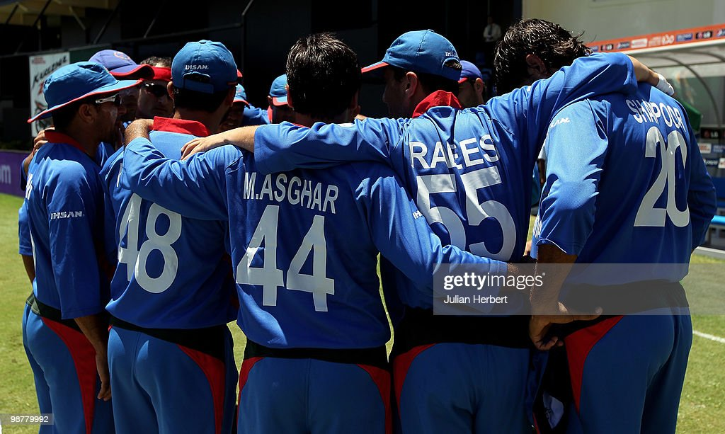 Members of The Afghanistan team prepare to take to the field during the playing of the natinonal anthem before the ICC World Twenty20 Group A match between India and Afghanistan played at the Beausejour Cricket Ground on May 1, 2010 in Gros Islet, Saint Lucia.
