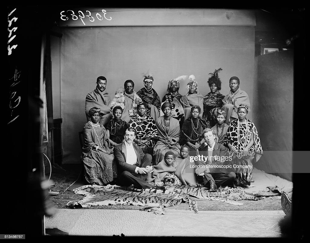 Members of The African Choir pose for a group portrait with their English choir manager, Walter Letty (front, left), and musical director James Balmer, 1891. The choir, drawn from seven different South African tribes, toured Britain from 1891 to 1893 to raise funds for a technical college in their home country. Their best known performance was before Queen Victoria at Osborne House, the royal residence on the Isle of Wight, in 1891.