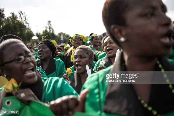 Members of the African National Congress Women's League march to commemorate the late South African antiapartheid campaigner Winnie MadikizelaMandela...