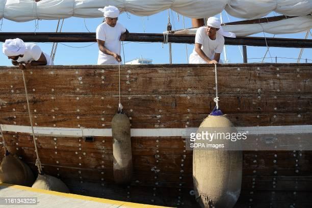 Members of the Al Mubaraki vessel crew prepare the vessel to depart from Zeas Marina Piraeus to the port of Corfu island The vessel is doing a...