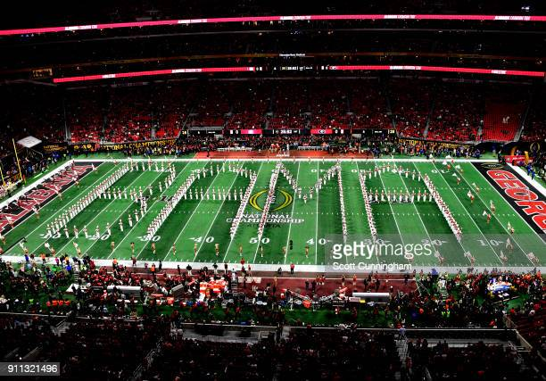 Members of the Alabama Crimson Tide Band perform before the CFP National Championship presented by ATT against the Georgia Bulldogs at MercedesBenz...