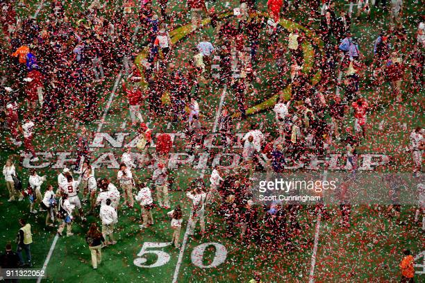 Members of the Alabama Crimson Tide celebrate after winning the CFP National Championship presented by ATT against the Georgia Bulldogs at...