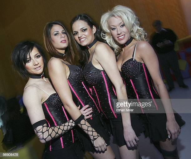 Members of the Aladdin Casino Resort's X Girls The Show Yelena Lagereva Brenda Reese Shakira Onstead and Michelle Thibodeaux pose at the launch party...