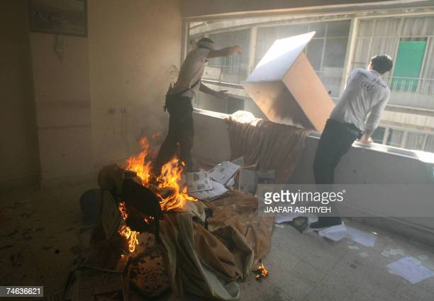 Members of the alAqsa Martyrs Brigades an armed offshoot of the Fatah movement loyal to president Mahmud Abbas ransack the offices of the Hamas...
