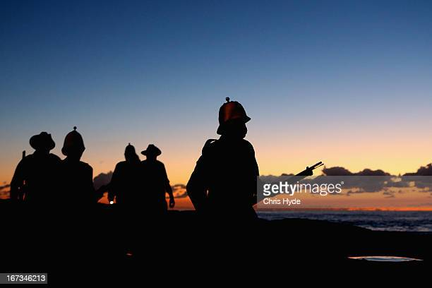 Members of the Albert Battery prepare to shoot a volley of fire during the ANZAC dawn service at Currumbin Surf Life Saving Club on April 25 2013 in...