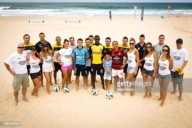 Members of the A-League and Football Federation Australia pose for a photo during the FFA Summer Football launch at Maroubra Beach on December 17,...