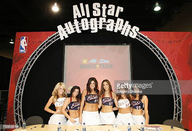 Members of the All Star Dance Team sign autographs at Jam Session during NBA All Star Weekend on February 16 2007 in Las Vegas Nevada NOTE TO USER...