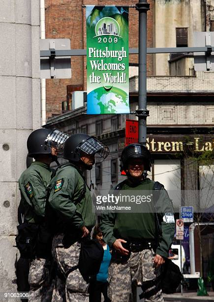 Members of the Allegheny County Police Department patrol the downtown area in advance of the G20 Summit September 23 2009 in Pittsburgh Pennsylvania...