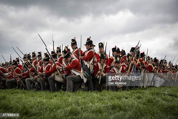 Members of the Allied army practice their square formation to counter cavalry charges on June 19 2015 in Waterloo Belgium Around 5000 historical...
