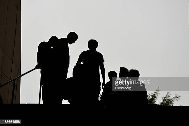Members of the Alphanauts, employees of the hedge fund Bridgewater Associates Inc., work at Elevated Acre, a public space next to 55 Water Street,...