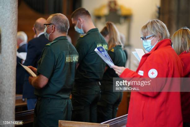 Members of the ambulance service and Red Cross attend a civic service led by the Bishop of Plymouth at Minister Church Of St Andrew in the Keyham...