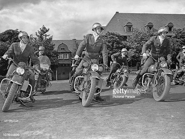 Members of the American 3rd Constabulary Regiment prepare for motorcycle patrol duty Germany 4th June 1946 They are based at Wetzlar in the postwar...