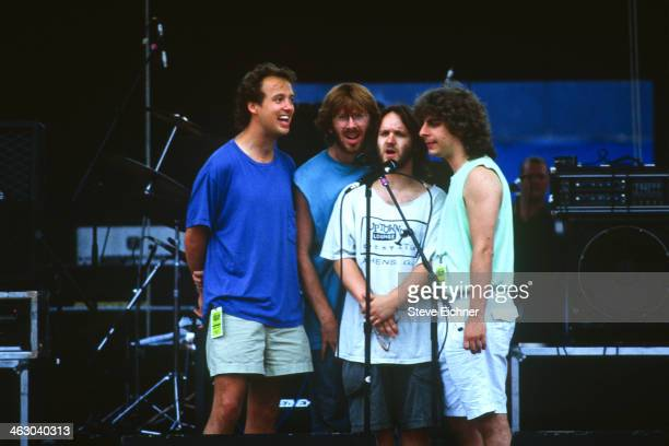 Members of the American band Phish harmonize at the HORDE Festival Wantagh New York July 12 1992 Pictured are from left Page McConnell Trey Anastasio...