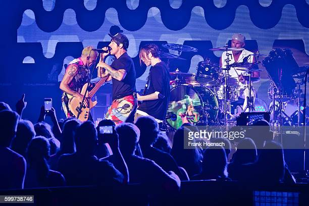 Members of the American band Red Hot Chili Peppers perform live during the 360 degree HD live stream concert as part of the Telekom Street Gigs at...