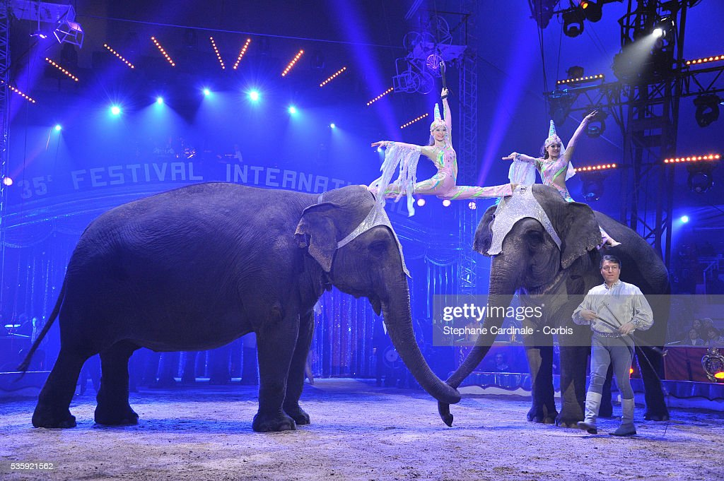 Members of the American circus troupe Flavio Togni perform with elephants during the opening ceremony of the Monte-Carlo 35th International Circus Festival 2011, in Monaco.