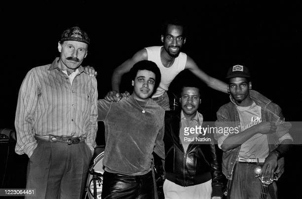 Members of the American Jazz band Weather Report pose backstage at the Park West, Chicago, Illinois, November 16, 1978. Pictured are Joe Zawinul,...
