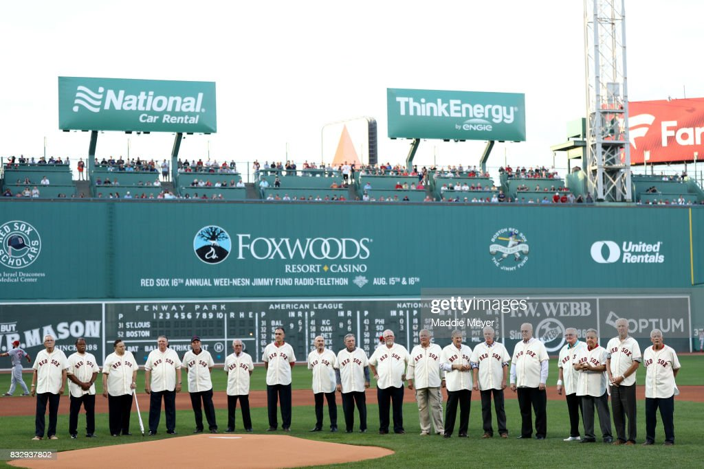 Members of the American League Champion 1967 Red Sox are acknowledged at Fenway Park before the game between the Boston Red Sox and the St. Louis Cardinals on August 16, 2017 in Boston, Massachusetts.