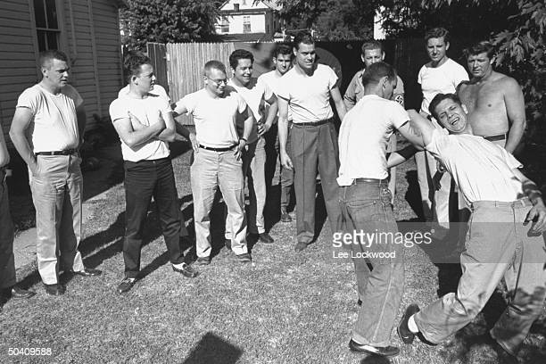 Members of the American Nazi Party doing calisthenics outside their headquarters