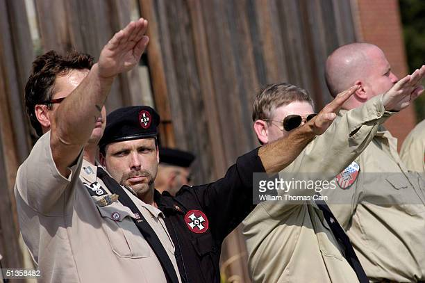 Members of the American Nazi Party salute during American Nazi Party rally at Valley Forge National Park September 25 2004 in Valley Forge...
