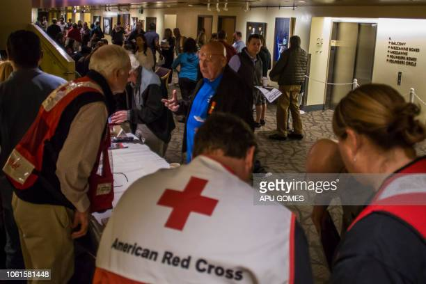 Members of the American Red Cross speak to residents in the Informational Town Hall organized by the County of Ventura in partnership with the city...