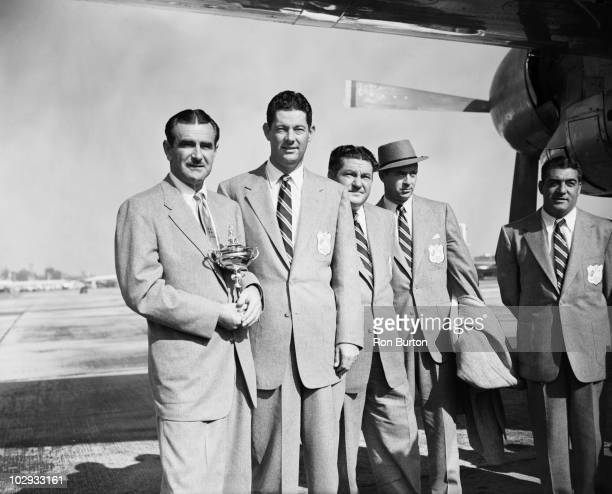 Members of the American Ryder Cup team arriving at London Airport 26th September 1953 Left to right Lloyd Mangrum Cary Middlecoff Ed Oliver Sam Snead...