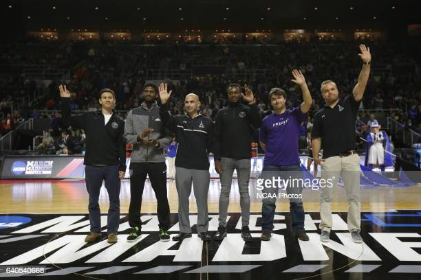 Members of the Amherst College men's soccer team are honored for their 2015 Division III Championship win during halftime of a game between Yale...
