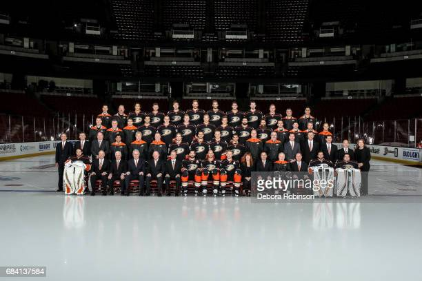 Members of the Anaheim Ducks pose for the official 201617 NHL team photograph at Honda Center on March 31 2017 in Glendale Arizona