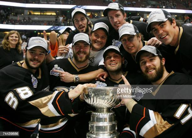 Members of the Anaheim Ducks pose with the Stanley Cup after their 6-2 victory over the Ottawa Senators in Game Five of the n June 6, 2007 at Honda...