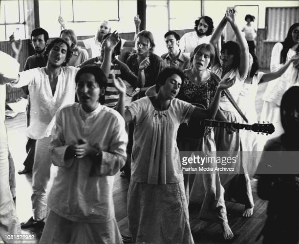 Members of the Ananda Marga from Australia and New Zealand who are attending the first day of the Australian conference perform the Kiirtan the...