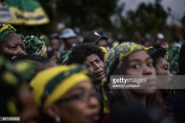 TOPSHOT Members of the ANC Women's League gather to pay tribute to late South African antiapartheid campaigner Winnie MadikizelaMandela exwife of...