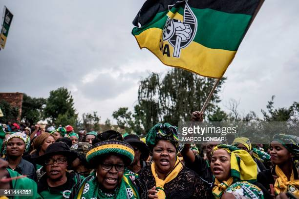 Members of the ANC Women's League gather to pay tribute to late South African anti-apartheid campaigner Winnie Madikizela-Mandela, ex-wife of African...