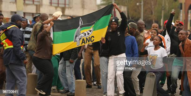 Members of the ANC Youth League sing 'Kill the farmer' in attempts to disrupt Freedom Day celebrations at Constitution Hill on April 27 2010 in...