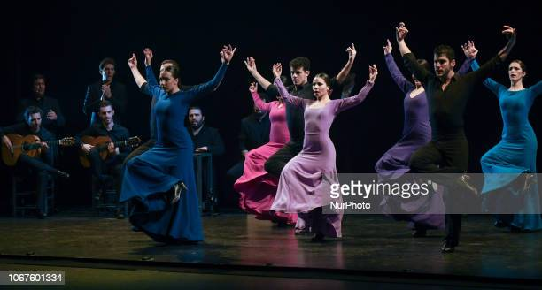 Members of the Andalusian Flamenco Ballet during 'Flamenco Tradition Vanguard Project Cantera' a new production directed by Rafael Estevez with...