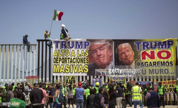 Members of the Angels without Borders organization hold a protest against the antiimmigrant policy of US President Donald Trump within the framework...