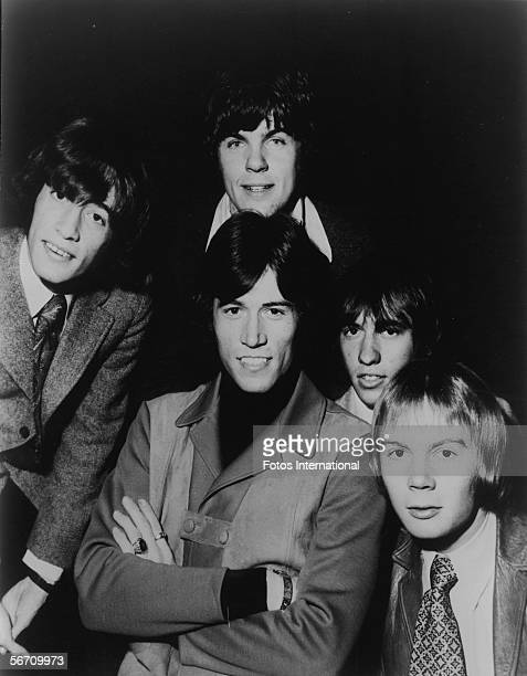 Members of the AngloAustralian poprock group The Bee Gees pose for a portrait late 1960s Bandmembers are Singer Robin Gibb guitarist Vince Melouney...
